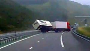 Truck Loses Control And Crashes On Highway