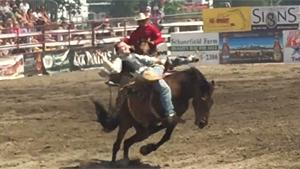 Rodeo Rider Smashed By Helping Bronco