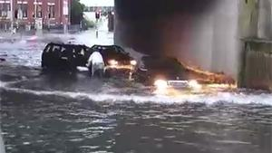 Stupid Driver Submerges Car