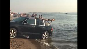 Porsche Cayenne Used As Water Slide
