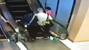 Old Couple Tries Escalator For The First Time