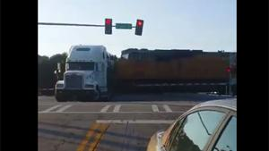 Train Hits Stuck Truck