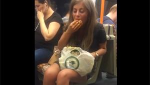 Drunk Girl Eating Gross On Subway