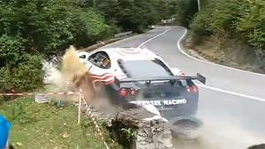 Ferrari Crashes At Rally