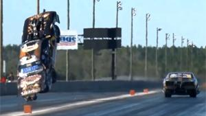 Mustang Goes Airborne In Dragrace