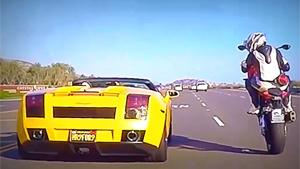 Overtaking Lamborghini With Wheelie