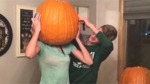 Teen Girl Stuck In Pumpkin