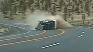 Truck Comes Sliding Through Corner