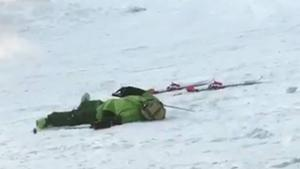 Drunk Skier Falls To Put Skis Back On