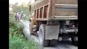 Heavy Truck Breaks Wooden Bridge