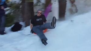 Downhill Sledge Slide Ends In Headache