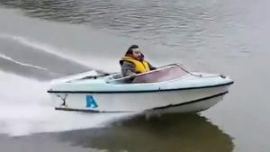 Big Crash In Tiny Speed Boat