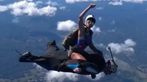 Riding A Wingsuit Man
