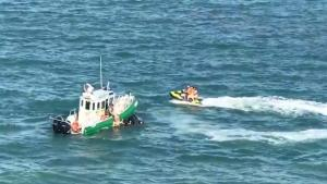 Jet Skiers Almost Run Over By Cruise Boat