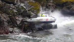 Speedboat Drives Straight Into Rocks