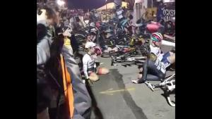 Massive Pile Up Of Cyclists