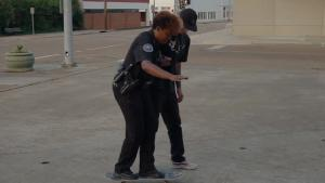 Skateboard Lessons For Police Woman