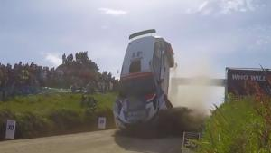 Rally Car Goes Head Over Heals
