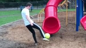 Trick With Kids Slide Works Out Fine