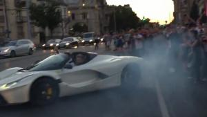 Donuts In A La Ferrari Aperta In Traffic