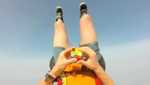 Solving Rubik's Cube During Skydive
