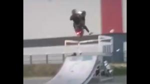Scooter Stunt In Skate Park Goes Bad