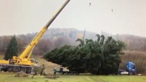 Crane Tips Over Lifting Christmas Tree