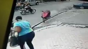 Rogue Scooter Takes Out Lady