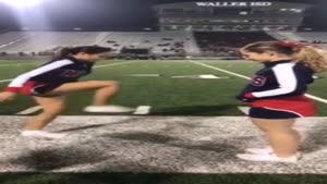 Cheerleader Steps On Invisible Box